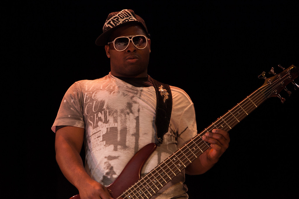 Electric 6 string bass held the bottom together with Trombone Shorty. (Howard Pitkow/for Newsworks)