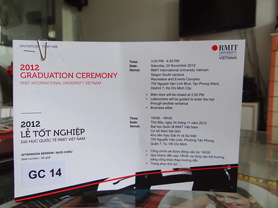 Tickets to the ceremony.