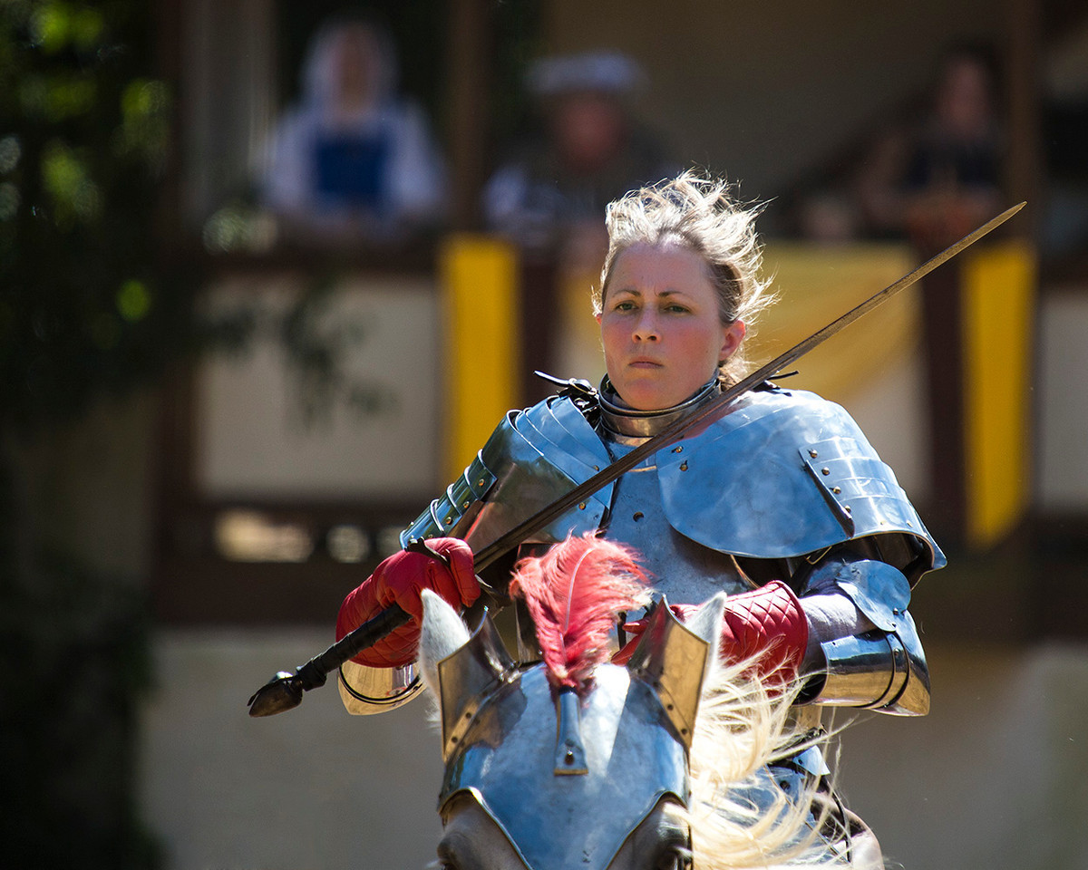 I cannot help but thinking that an attractive woman in full armor on a horse at full gallop with a five foot sword in hand and showing some attitude is just plain HOT.... Anyone else with me on that?