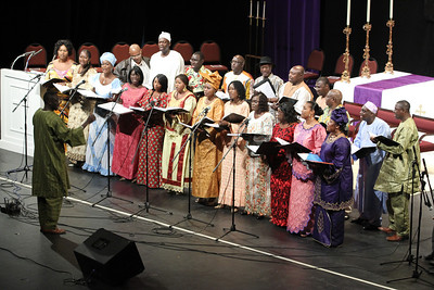 The Gambian Christian Organization of Atlanta Choir, based out of Immaculate Heart of Mary Church, Atlanta, sings for the crowd prior to the Rite of Election and Call to Continuing Conversion at the Atlanta Civic Center, Feb. 26.