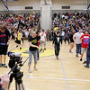 Record-Eagle/Keith King<br /> Students fill the gymnasium as recording of a lip dub video takes place Wednesday, May 9, 2012 at Traverse City East Middle School. Jody Mackey organized the video with her broadcast journalism students, along with other students in the school, contributing in a variety of ways. The video is expected to be posted to the school's website next week.
