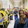 Record-Eagle/Keith King<br /> Students line a hallway as recording of a lip dub video takes place Wednesday, May 9, 2012 at Traverse City East Middle School. Jody Mackey organized the video with her broadcast journalism students, along with other students in the school, contributing in a variety of ways. The video is expected to be posted to the school's website next week.