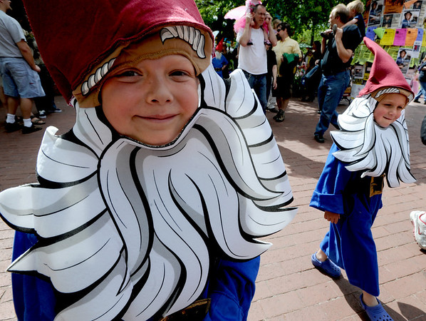 """Blake Niemann, left, and his little brother, Grant, were among the elves in the parade on Saturday.<br /> Downtown Boulder held the popular Tulip Fairy and Elf Parade on the Pearl Street Mall on Saturday.<br /> For  a video and more photos of the event, go to  <a href=""""http://www.dailycamera.com"""">http://www.dailycamera.com</a><br /> Cliff Grassmick / April 28, 2012"""