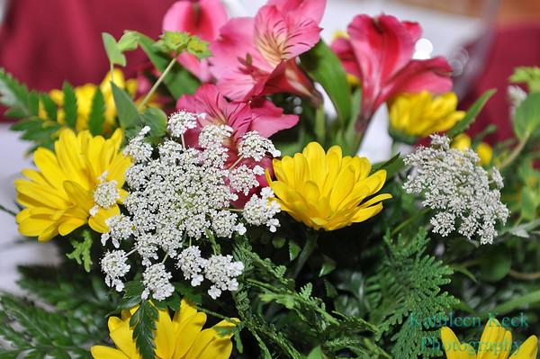 Flower arrangements provided by Scott's Florists, Saranac Lake, New York.