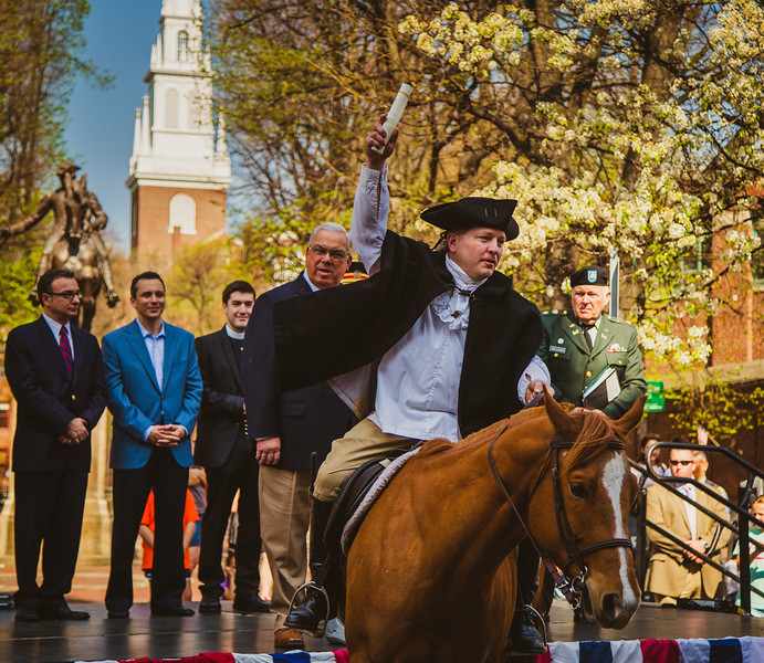 Patriot's Day Reenactment with Paul Revere Riding Off From Prado