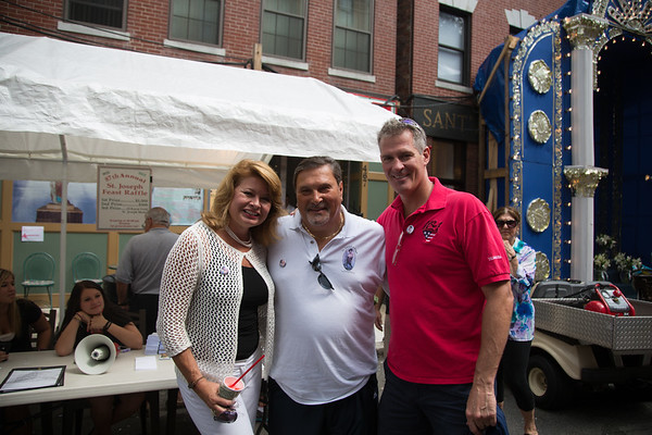 Tommy Abisso, President of San Giuseppe Societa, (center) with U.S. Senator Scott Brown and Gail Huff