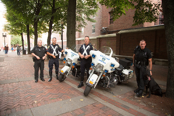 Boston Transit Police came prepared with motorcycles and the K-9 unit (look at that tongue!)