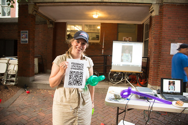 Always working is NEMPAC Executive Director Becca Griffin, shown here with their QR Code