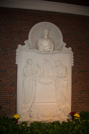 White marble bas-relief of Dante Alighieri at the North End Library.