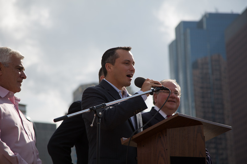 North End State Representative Aaron Michlewitz speaks at the Tony DeMarco statue unveiling