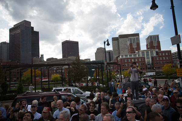 A large crowd gathers on Cross Street for the unveling of the Tony DeMarco statue
