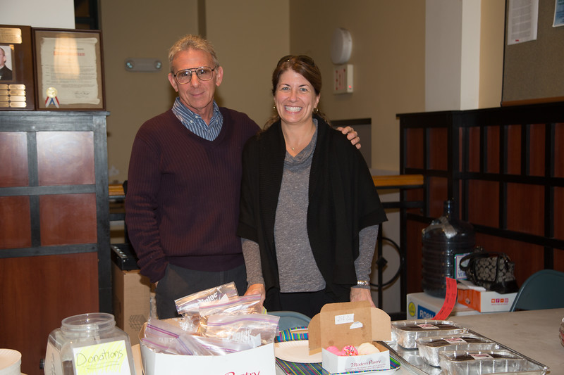 Carl Ameno and Maria Shea at the Nazzaro Center Election Day Bake Sale for the Red Sox Foundation (Photo by Matt Conti)