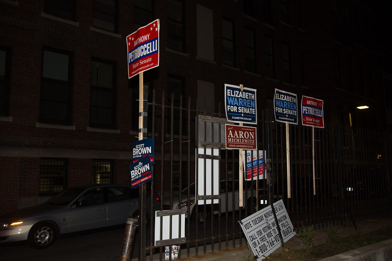 Election Campaign Signs outside Nazzaro Center poll