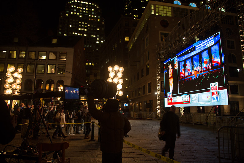CNN Big Screen Setup at Faneuil Hall Marketplace on Election Night (Photo by Matt Conti)