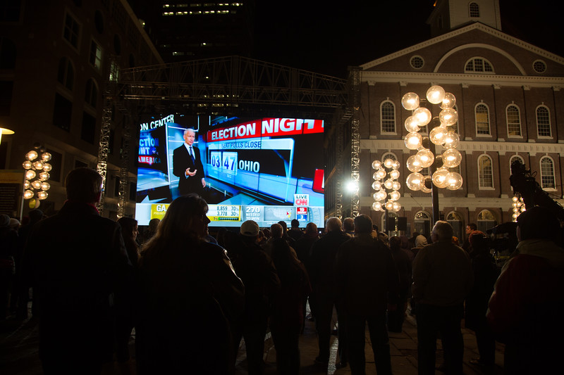 Crowd Gathers around CNN Big Screen at Faneuil Hall Marketplace on Election Night (Photo by Matt Conti)