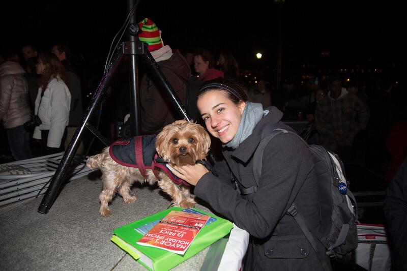 Little dog and owner at Christopher Columbus Holiday Lighting