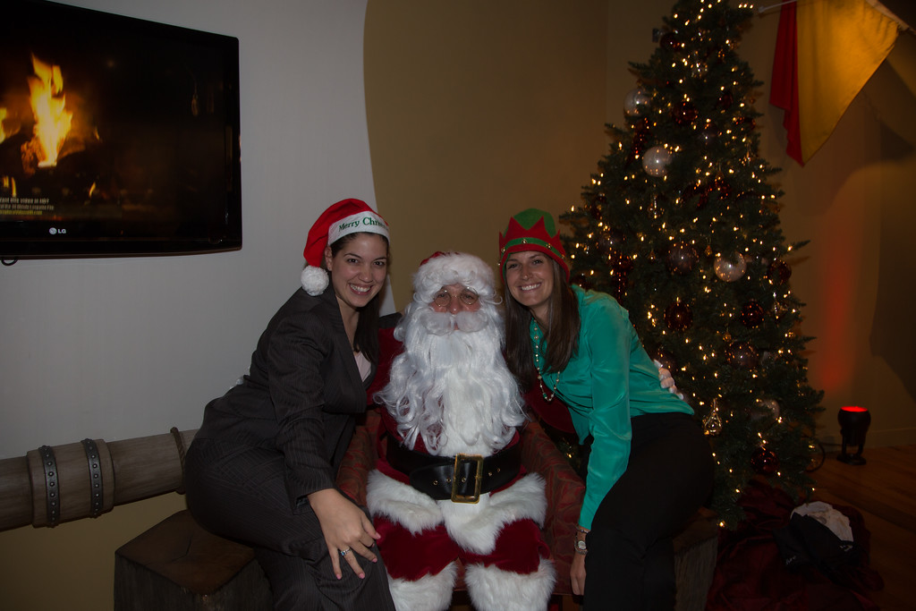 Mabel and Karly with Santa at the Fairmont Battery Wharf