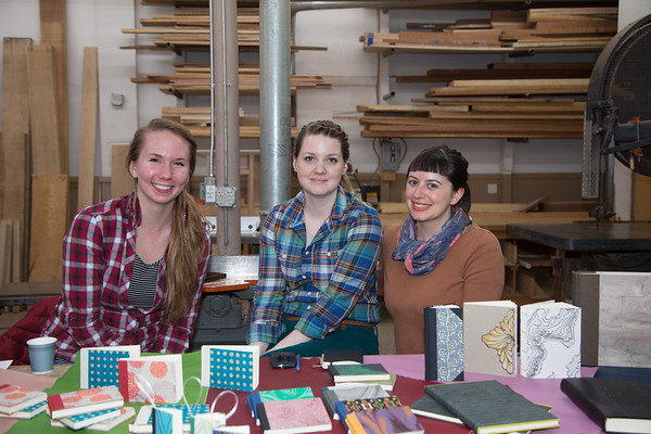 Bookbinding at North Bennet Street School - Gabby (left), Jeanne (center) and Erin