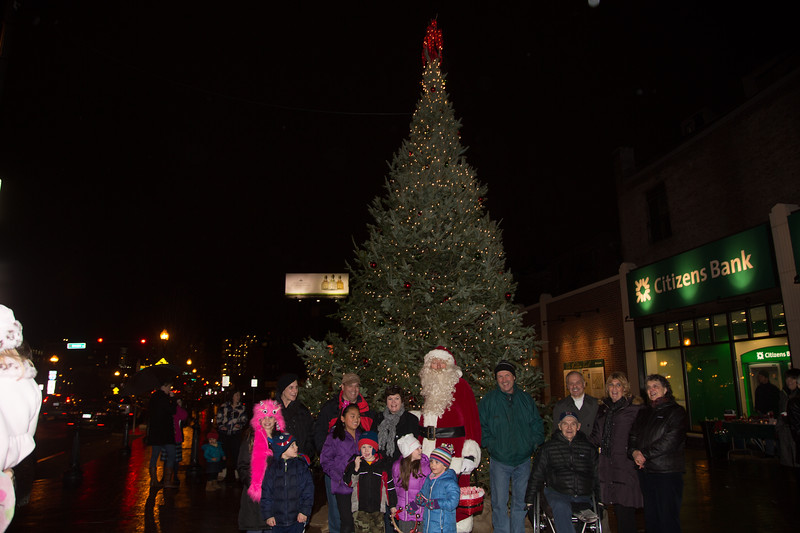A crowd gathers for the lighting of the Cross Street Christmas tree
