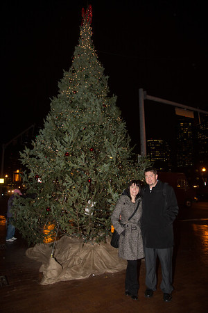Amanda and Dave in front of the Cross Street Christmas Tree