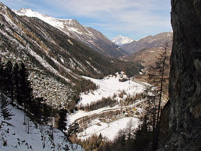 Ice climbing the Lillaz gully near Cogne in Italy