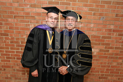 Keynote speaker Dr. Joseph Lakatos and Chancellor Kyle Carter at the UNCP spring Graduate commencement on Friday, May 4th, 2012..  spring_grad_0012.jpg