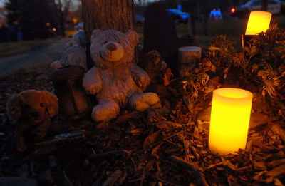 Teddy Bears and candles surround a tree at Sacajawea Park during the candlelight vigil for the one year anniversary of the death of Kelli O'Laughlin Saturday October 27, 2012.  Staff photo by Erica Benson   |    Buy this photo at snapshots.mysuburbanlife.com/1558117