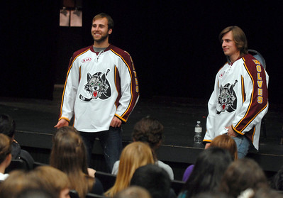 Chicago Wolves Hockey players (left) Yann Sauve and Alexandre Mallet meet with Glenbard North French students for a Q & A Tuesday October 30, 2012.  Staff photo by Erica Benson