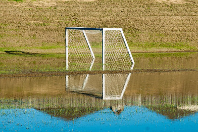 The soccer field at Herman Little Park doubles as a flooding retention pond.