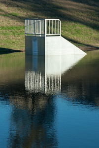 The skate park at Herman Little Park doubles as a retention pond to protect against local flooding.