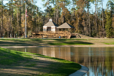 The pavilion at Herman Little Park overlooks a 4.5-acre pond stocked with fish.
