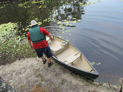 Mike taking the canoe out for a test