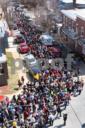 The Pilgrimage passes St. Francis Hospital during the CYM Cross Pilgrimage through the streets of Wilmington stopping at five churches, Saturday, March 23, 2012. www.DonBlakePhotography.com