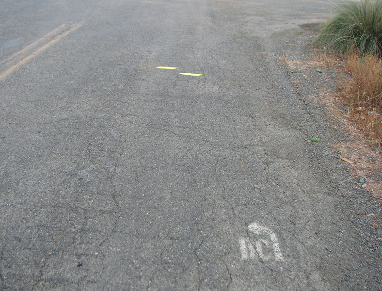 Old paint, new arrows: marking the course two days before.