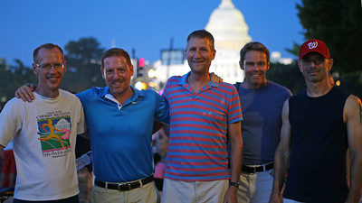 L-R: Ken Buja, Mark Rozanski, Jim Chandler, Alan Haywood, Tony Santucci. Mall fireworks. WDC