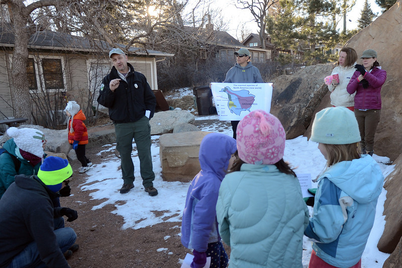 "Park Ranger Dave Gustafson talks marmot habitat before looking for  Flatiron Freddy on Saturday at Chautauqua Park.The City of Boulder Park Rangers introduced about 75 people to the marmot who popped up to see his shadow.<br /> For more photos and a video, got to  <a href=""http://www.dailycamera.com"">http://www.dailycamera.com</a>.<br />  Cliff Grassmick  / February 2, 2013"