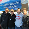 Dusko Stojanovic, ?, Peggy Retka, Jelena Maksimovic at the Bosnia-Herzegovina tent