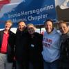 President Michael Hemesath, Dusko Stojanovic, ?, Peggy Retka, Jelena Maksimovic at the Bosnia-Herzegovina tent