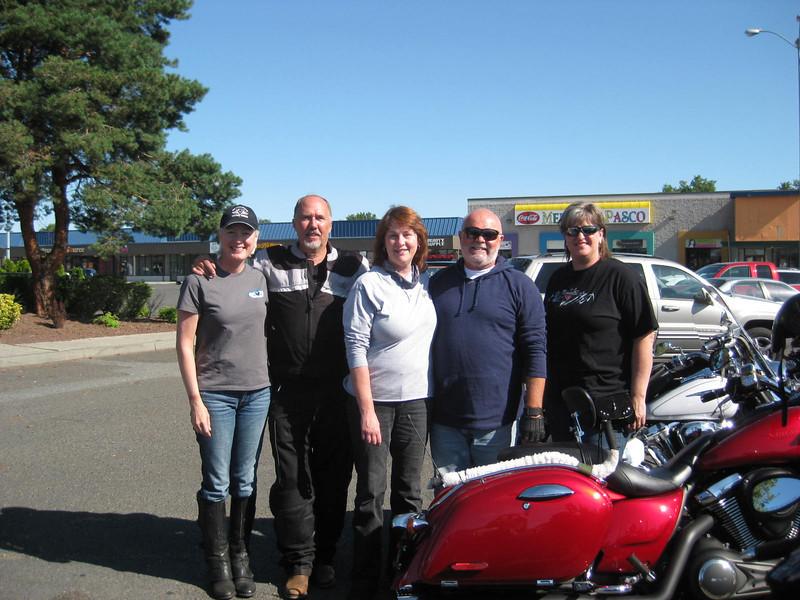Left to Right:  Ann Gage Webb, David Grossman, Jean Richardson, John Richardson, Bev Willemsen Van Zandt, at Andy's North Diner, Pasco, WA, July 4, 2013