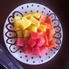 Breakfast!  Papaya, melon and pineapple