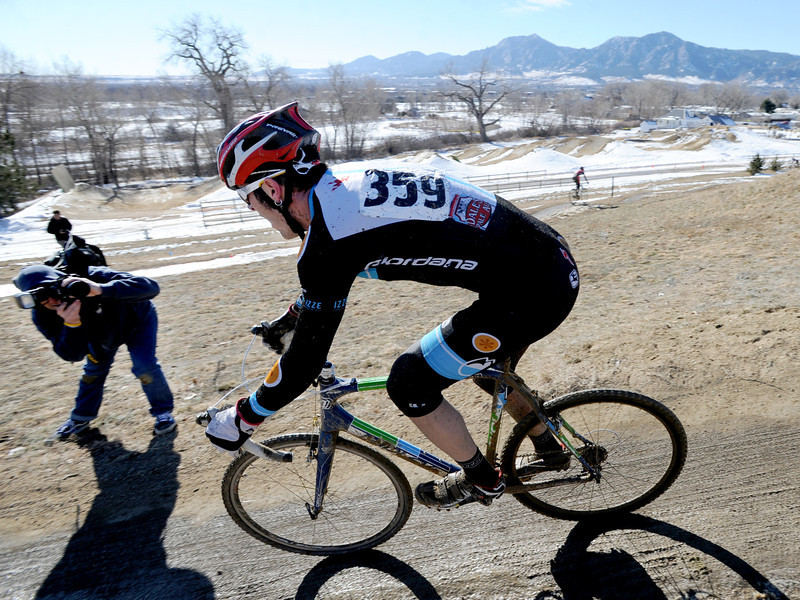 "Racer Aaron Bouplon is photographed while making a turn during the ""A"" race of the 2012 New Years CX Race at Valmont Bike Park in Boulder on Saturday.<br /> For more photos and a video from the race, go to  <a href=""http://www.dailycamera.com"">http://www.dailycamera.com</a>.<br /> Cliff Grassmick  / January 5, 2013"