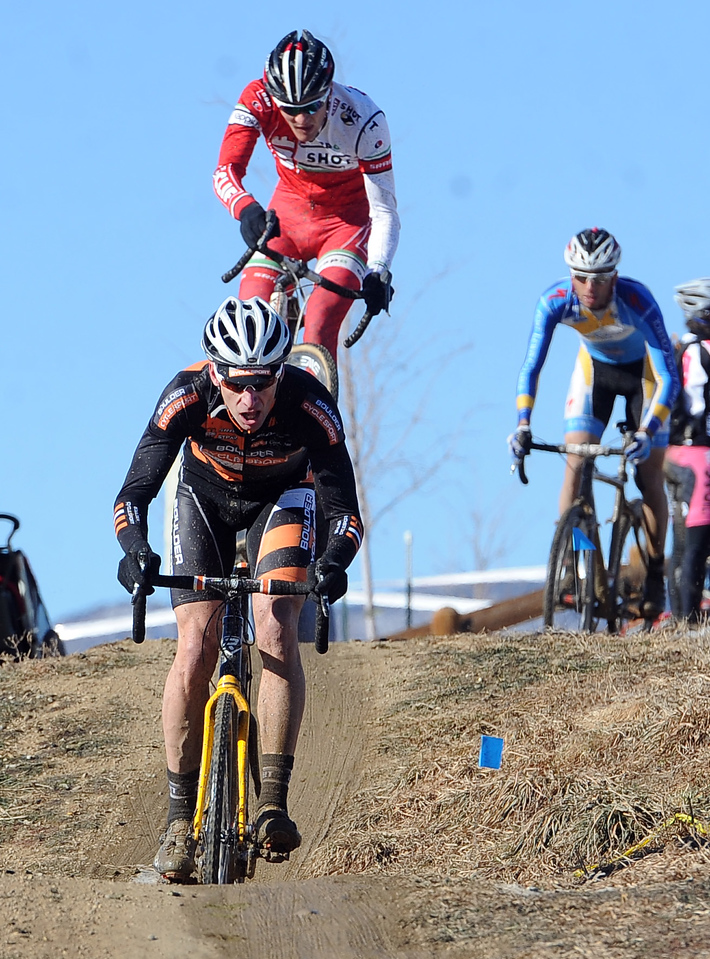 "Racer Peter Webber leads a group riding hills during the ""A"" race of the 2012 New Years CX Race at Valmont Bike Park in Boulder on Saturday.<br /> For more photos and a video from the race, go to  <a href=""http://www.dailycamera.com"">http://www.dailycamera.com</a>.<br /> Cliff Grassmick  / January 5, 2013"
