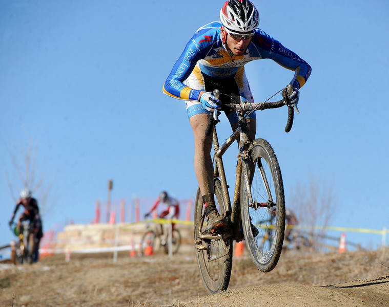 "Eventual winner, Rotem Ishay, of Ft Lewis College, rides the hills during the ""A"" race of the 2012 New Years CX Race at Valmont Bike Park in Boulder on Saturday.<br /> For more photos and a video from the race, go to  <a href=""http://www.dailycamera.com"">http://www.dailycamera.com</a>.<br /> Cliff Grassmick  / January 5, 2013"