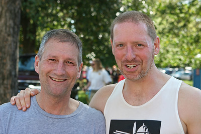Richmond VA Monument Ave 10K, April 12-13, 2013. L-R: Jim and Mark, post race.