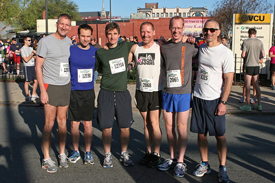 Richmond VA Monument Ave 10K, April 12-13, 2013. L-R: Jim, Nick, John, Mark, Ken, Tony.