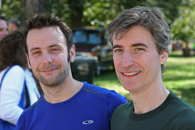 Richmond VA Monument Ave 10K, April 12-13, 2013. L-R: Nick and John, post race.