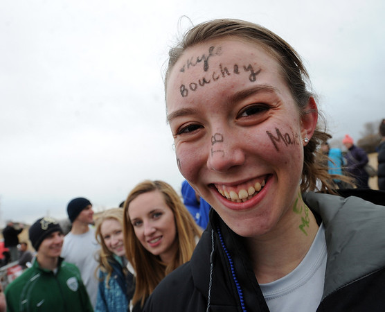"Sara Sawyer has the names of all her sponsors all over her body.<br /> The Polar Plunge is a grassroots fundraiser presented by the Law Enforcement Torch Run for Special Olympics Colorado.<br /> For more photos and a video, go to  <a href=""http://www.dailycamera.com"">http://www.dailycamera.com</a>.<br />  Cliff Grassmick  / February 9, 2013"