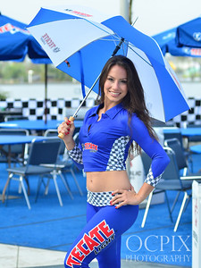 Tecate Light model with an umbrella