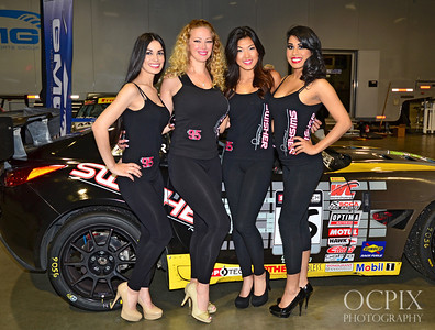 Swisher models at the Lifestyle Expo of the 2013 Grand Prix of Long Beach. Posing in front of a race car.