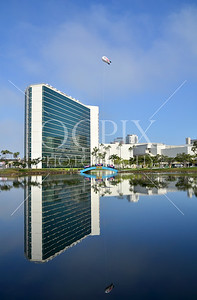 Reflection on lagoon of the Hyatt Regency Hotel in Long Beach